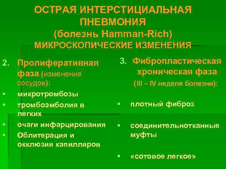 ОСТРАЯ ИНТЕРСТИЦИАЛЬНАЯ   ПНЕВМОНИЯ  (болезнь Hamman-Rich)  МИКРОСКОПИЧЕСКИЕ ИЗМЕНЕНИЯ 2.