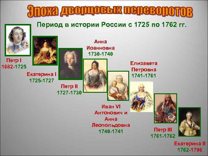 Период в истории России с 1725 по 1762 гг.