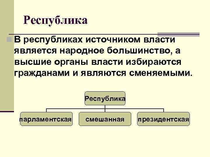 Республика n В республиках источником власти  является народное большинство, а