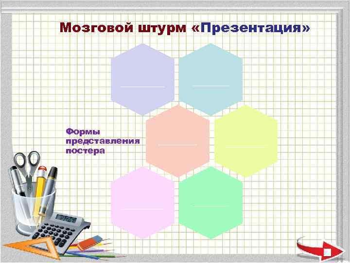 Мозговой штурм «Презентация»   ______  Формы представления  _______ постера