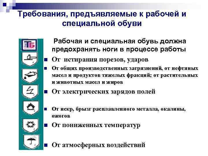 Требования, предъявляемые к рабочей и   специальной обуви  Рабочая и специальная обувь