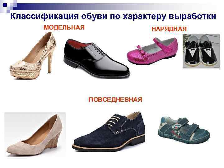 Классификация обуви по характеру выработки  МОДЕЛЬНАЯ   НАРЯДНАЯ    ПОВСЕДНЕВНАЯ