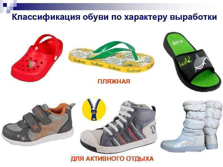 Классификация обуви по характеру выработки    ПЛЯЖНАЯ   ДЛЯ АКТИВНОГО ОТДЫХА