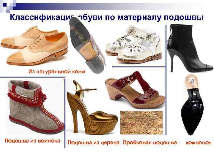 Классификация обуви по материалу подошвы  Из натуральной кожи Подошва из войлока