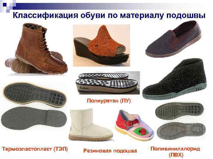 Классификация обуви по материалу подошвы      Полиуретан (ПУ)