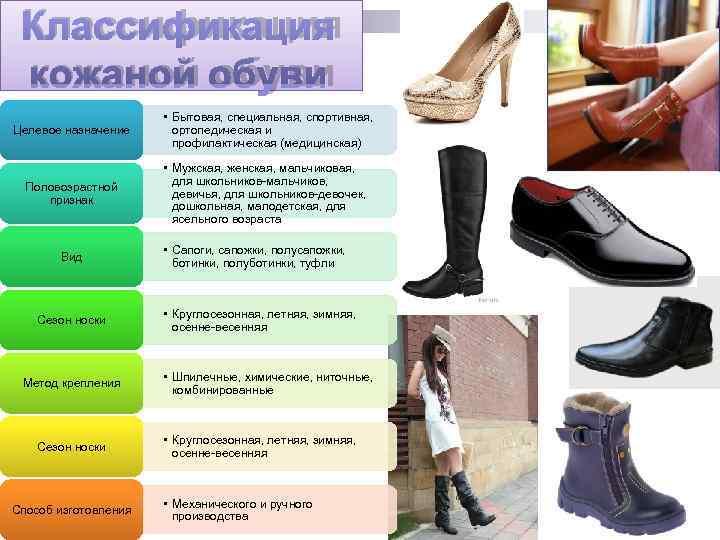 Классификация кожаной обуви    • Бытовая, специальная, спортивная, Целевое назначение ортопедическая