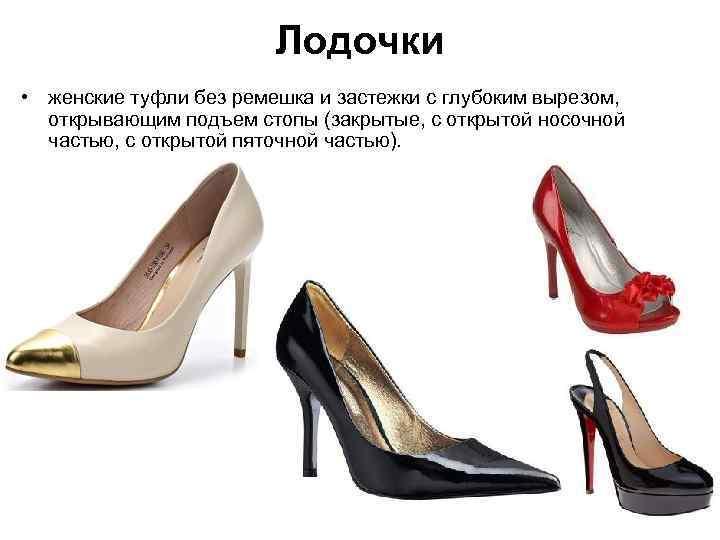 Лодочки • женские туфли без ремешка и застежки с глубоким