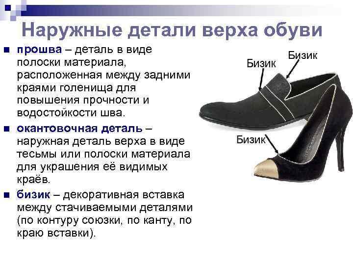 Наружные детали верха обуви n  прошва – деталь в виде полоски