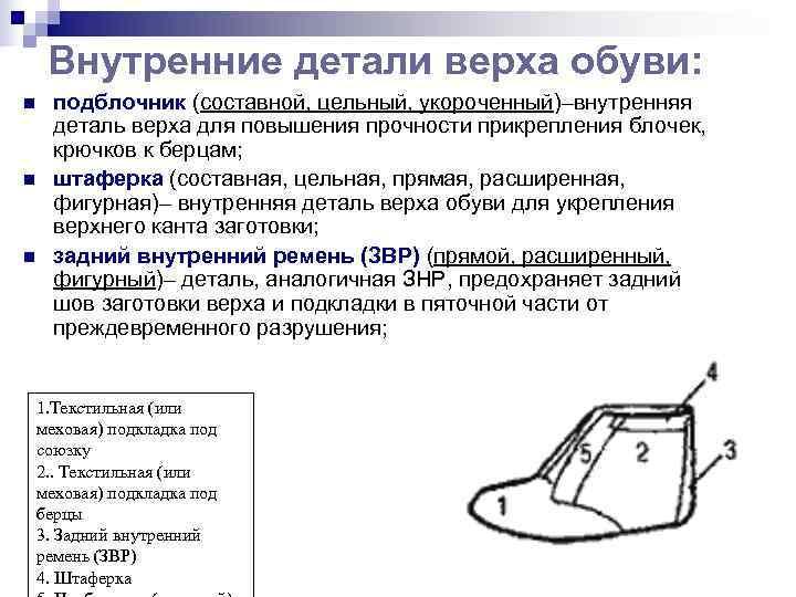 Внутренние детали верха обуви: n  подблочник (составной, цельный, укороченный)–внутренняя деталь верха