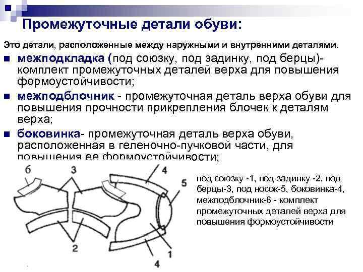 Промежуточные детали обуви: Это детали, расположенные между наружными и внутренними деталями. n