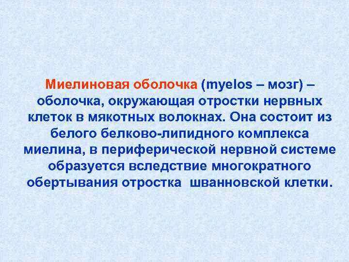 Миелиновая оболочка (myelos – мозг) – оболочка, окружающая отростки нервных клеток в мякотных