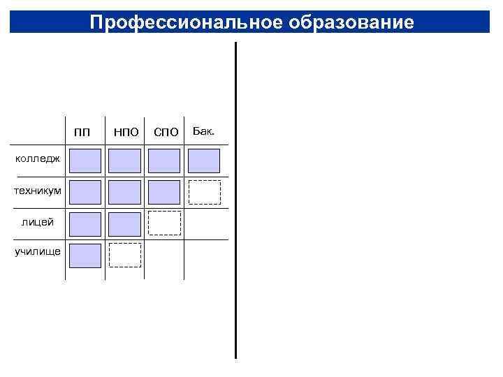 Профессиональное образование    ПП  НПО  СПО  Бак.