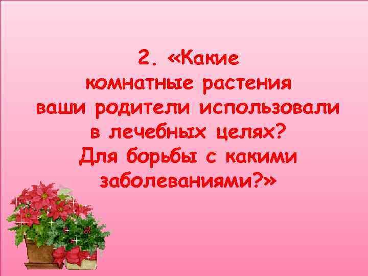2.  «Какие комнатные растения ваши родители использовали в лечебных целях?