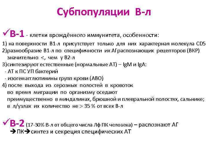 Субпопуляции В-л üВ-1 - клетки врождённого иммунитета, особенности: 1) на
