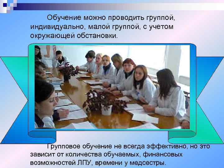 Обучение можно проводить группой, индивидуально, малой группой, с учетом окружающей обстановки.