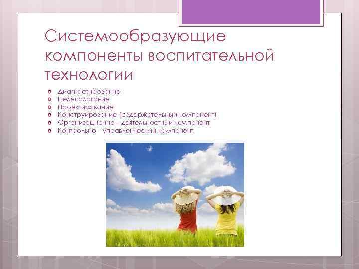 Системообразующие компоненты воспитательной технологии Диагностирование Целеполагание Проектирование Конструирование (содержательный компонент) Организационно – деятельностный компонент