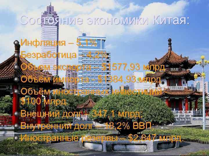 Состояние экономики Китая: Инфляция – 5, 1% Безработица – 4, 2% Объем экспорта –