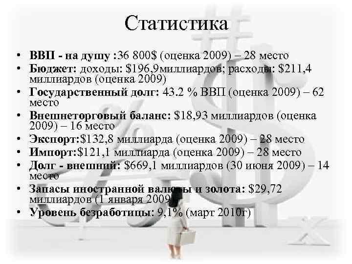 Статистика • ВВП - на душу : 36 800$ (оценка 2009)