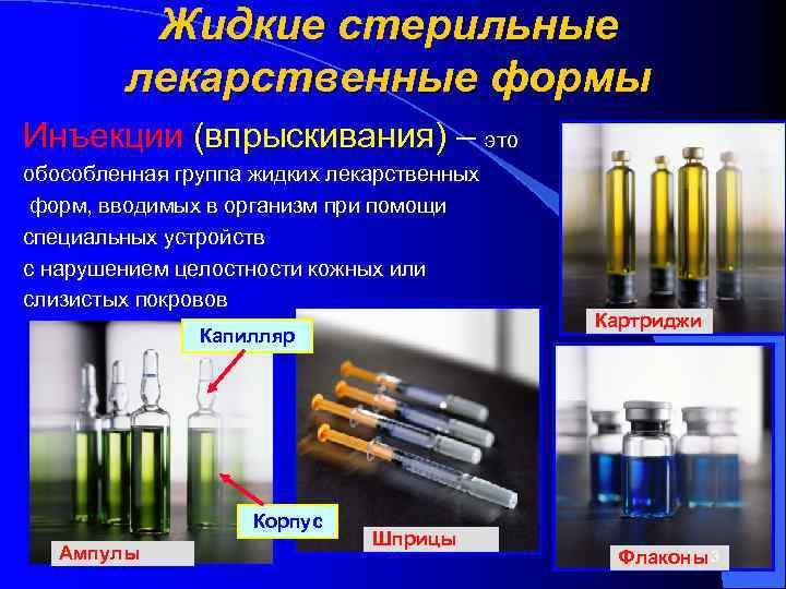 Жидкие стерильные   лекарственные формы Инъекции (впрыскивания) – это обособленная