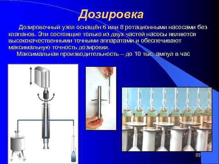 Дозировка  Дозировочный узел оснащён 6 или 8 ротационными