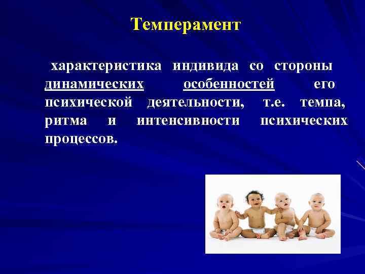 Темперамент  характеристика индивида со стороны  динамических особенностей