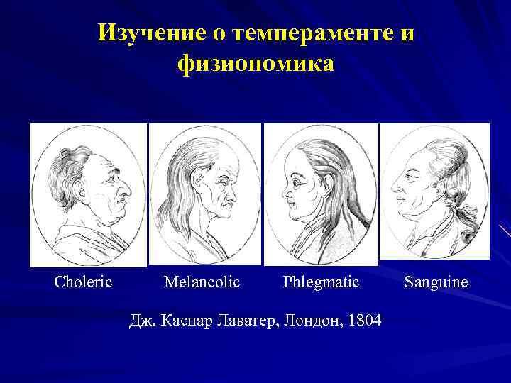 Изучение о темпераменте и   физиономика Choleric  Melancolic Phlegmatic Sanguine