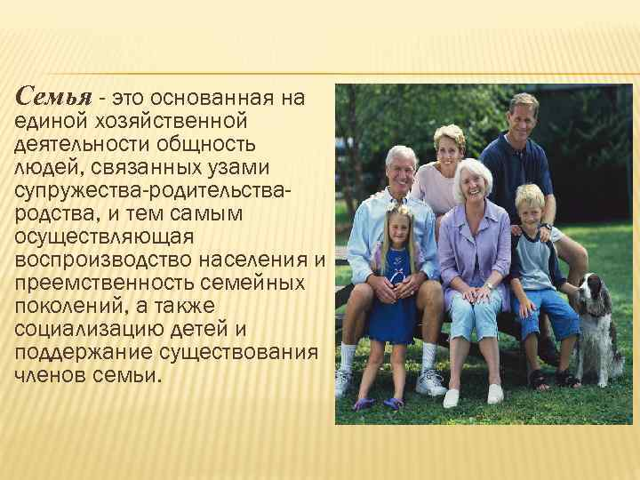 Семья - это основанная на единой хозяйственной деятельности общность людей, связанных узами супружества-родительства- родства,