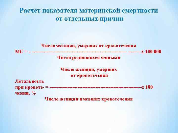 Расчет показателя материнской смертности   от отдельных причин    Число