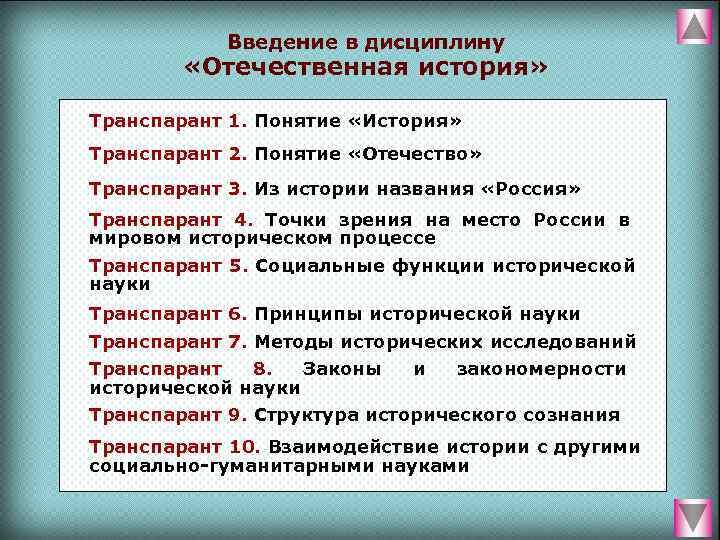 Введение в дисциплину  «Отечественная история»  Транспарант 1. Понятие «История»