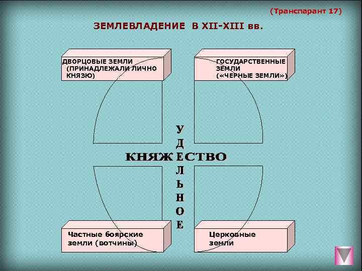 (Транспарант 17)   ЗЕМЛЕВЛАДЕНИЕ В XII-XIII вв.  ДВОРЦОВЫЕ