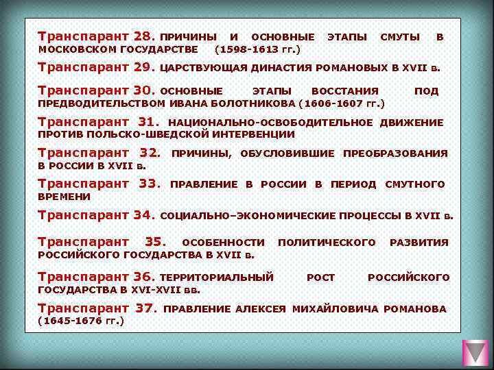 Транспарант 28. ПРИЧИНЫ  И  ОСНОВНЫЕ  ЭТАПЫ  СМУТЫ В МОСКОВСКОМ ГОСУДАРСТВЕ