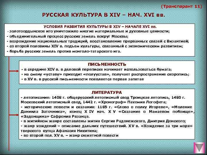 (Транспарант 11)   РУССКАЯ КУЛЬТУРА В