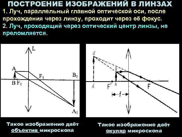 ПОСТРОЕНИЕ ИЗОБРАЖЕНИЙ В ЛИНЗАХ 1. Луч, параллельный главной оптической оси, после прохождения через