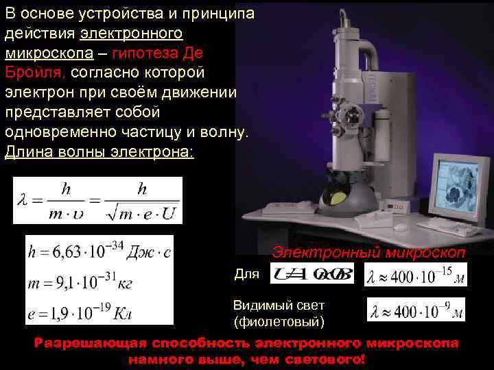 В основе устройства и принципа действия электронного микроскопа – гипотеза Де Бройля, согласно которой