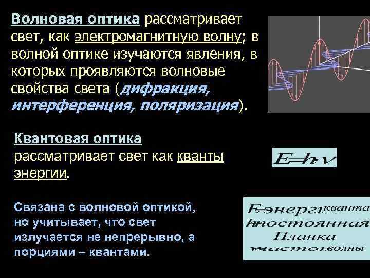 Волновая оптика рассматривает свет, как электромагнитную волну; в волной оптике изучаются явления, в которых