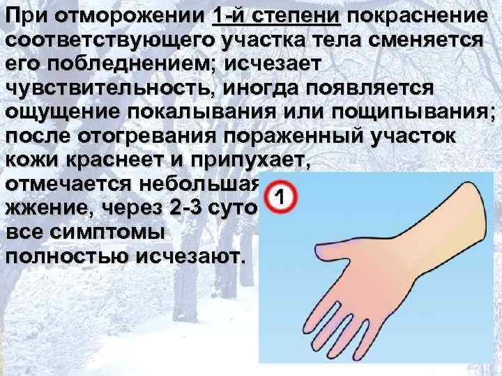 При отморожении 1 -й степени покраснение соответствующего участка тела сменяется его побледнением; исчезает чувствительность,