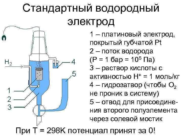 Стандартный водородный   электрод    1 – платиновый электрод,