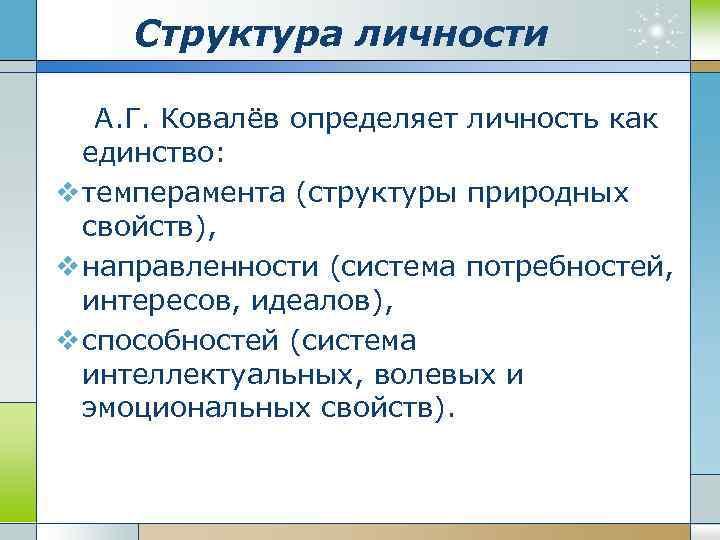 Структура личности А. Г. Ковалёв определяет личность как единство: v темперамента (структуры природных