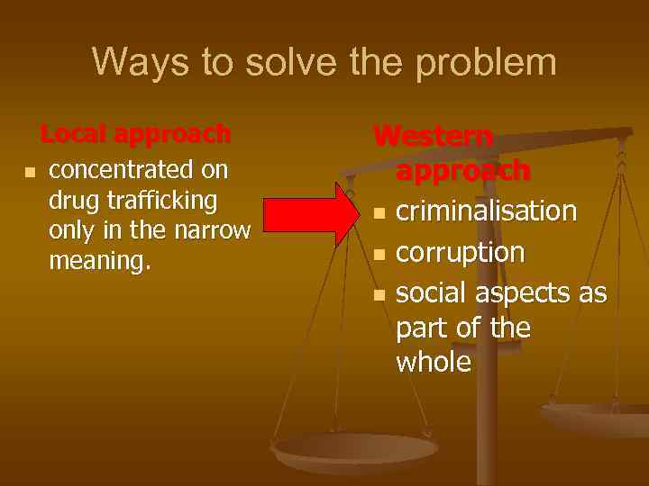 Ways to solve the problem Local approach  Western n concentrated on
