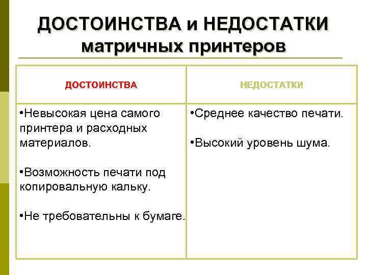 ДОСТОИНСТВА и НЕДОСТАТКИ матричных принтеров  ДОСТОИНСТВА    НЕДОСТАТКИ  •