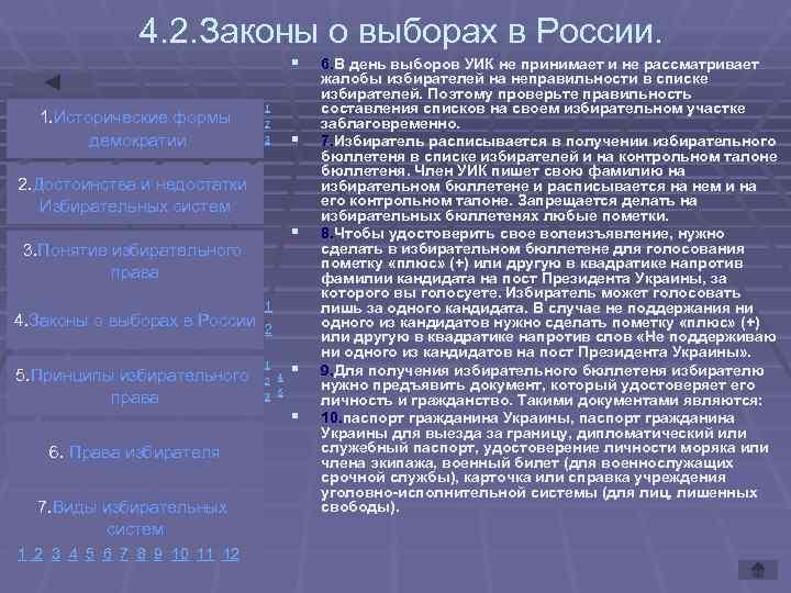 4. 2. Законы о выборах в России.