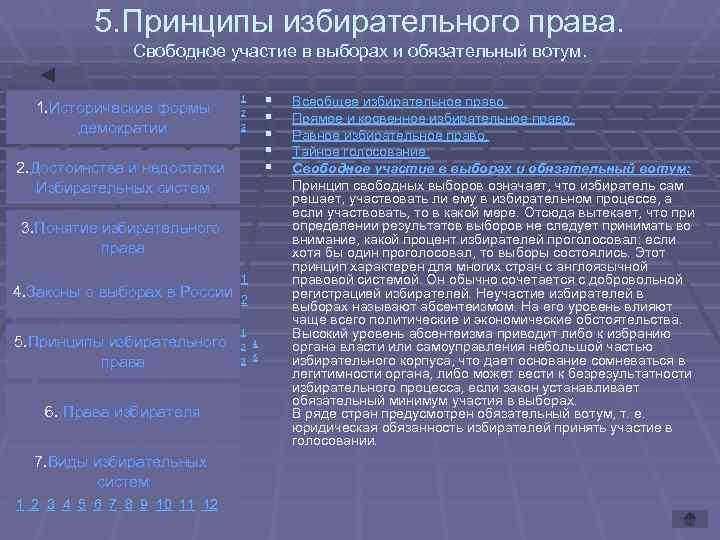 5. Принципы избирательного права.   Свободное участие в выборах и