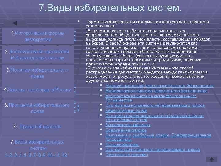 7. Виды избирательных систем.      §
