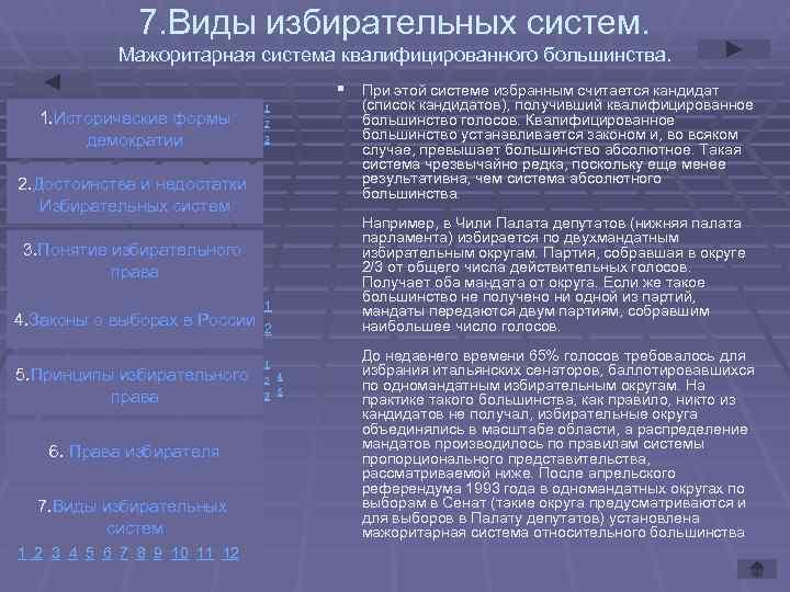 7. Виды избирательных систем.   Мажоритарная система квалифицированного большинства.
