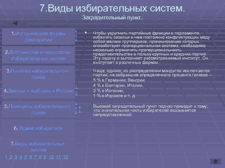 7. Виды избирательных систем.       Заградительный