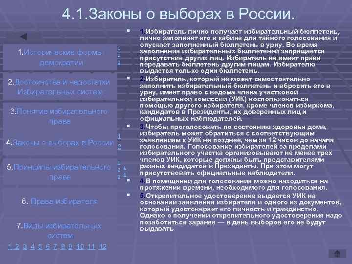 4. 1. Законы о выборах в России.