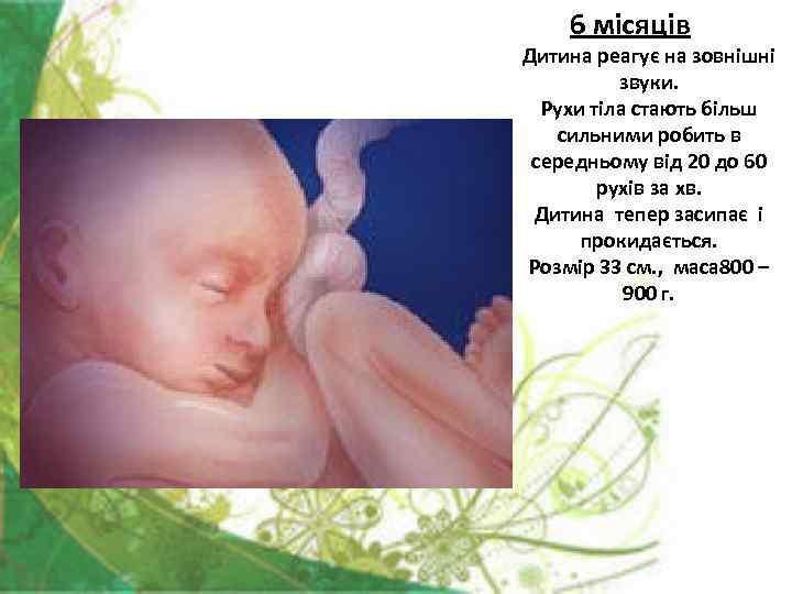 6 місяців Дитина реагує на зовнішні  звуки.  Рухи тіла стають