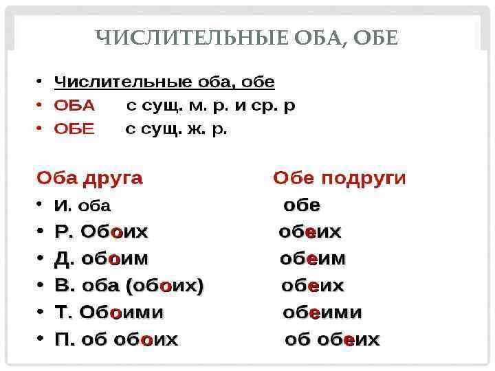 ЧИСЛИТЕЛЬНЫЕ ОБА, ОБЕ  И. п. оба обе р. п. обоих
