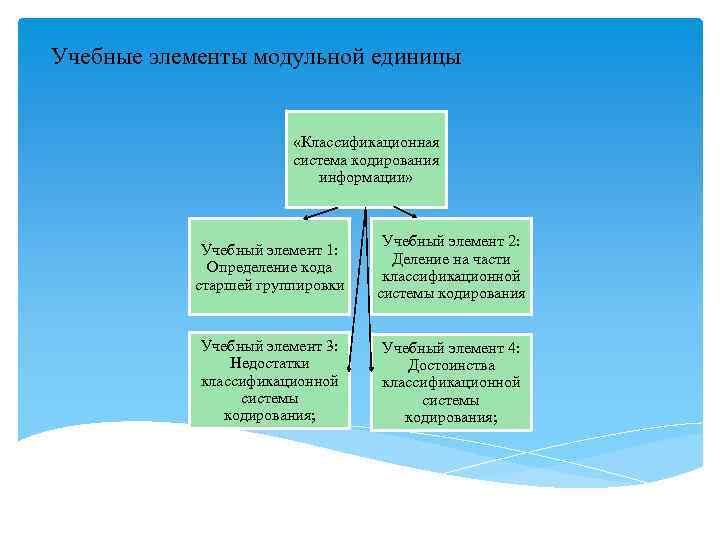 Учебные элементы модульной единицы      «Классификационная    система