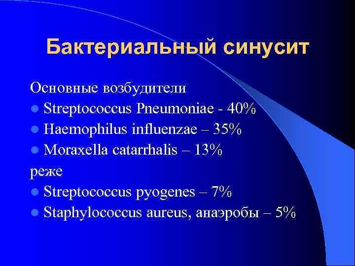 Бактериальный синусит Основные возбудители l Streptococcus Pneumoniae - 40% l Haemophilus influenzae –